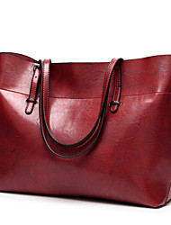 cheap -Women's Zipper Polyester / PU Top Handle Bag Leather Bags Solid Color Wine / Black / Blue / Fall & Winter