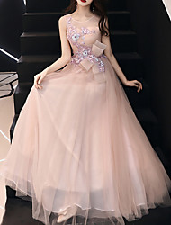cheap -A-Line Floral Pink Prom Formal Evening Dress Jewel Neck Sleeveless Floor Length Tulle Polyester with Bow(s) Appliques 2020