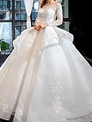 cheap -Ball Gown Jewel Neck Sweep / Brush Train Lace Long Sleeve Beach Wedding Dresses with Lace Insert / Embroidery 2020