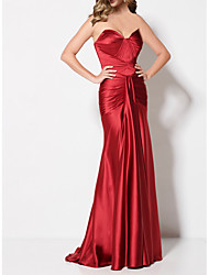 cheap -Mermaid / Trumpet Sexy Red Engagement Formal Evening Dress Sweetheart Neckline Sleeveless Sweep / Brush Train Stretch Satin with Draping 2020