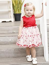 Недорогие -Дети Девочки Контрастных цветов Платье Красный