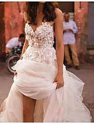 cheap -A-Line Wedding Dresses Sweetheart Neckline Court Train Polyester Sleeveless Country Plus Size with Lace Insert Appliques 2020