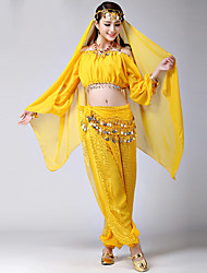 cheap -Women's Dancer Belly Dance Masquerade Tassel Sequins Sequin Polyster Purple Yellow Fuchsia Top Pants