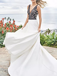 cheap -A-Line V Neck Sweep / Brush Train Satin Sleeveless Beach Plus Size / Black Wedding Dresses with Appliques 2020