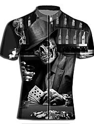 cheap -Men's Daily Spring & Summer Regular Jacket, Geometric Stand Short Sleeve Polyester Black