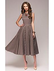 cheap -Women's Plus Size A Line Dress - Polka Dot Red Brown Green S M L XL