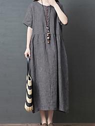 Недорогие -Жен. С летящей юбкой Платье - Короткие рукава Сплошной цвет Свободный силуэт Светло-серый Темно-серый M L XL XXL