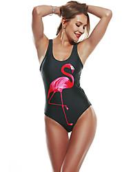 cheap -Women's Beach Girl Vintage 1980s Bikini Peplum Swimsuit Monokini Spandex Tactel Flamingo Black White Leotard / Onesie