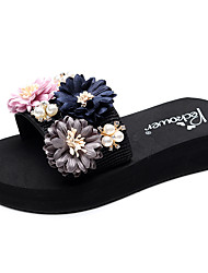 cheap -Women's Slippers & Flip-Flops Flat Heel Open Toe Rhinestone / Imitation Pearl / Satin Flower Polyester Casual / Minimalism Walking Shoes Summer Black