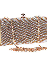 cheap -Women's Bags Polyester Evening Bag Crystals Chain for Wedding / Event / Party Black / Gold / Silver / Wedding Bags