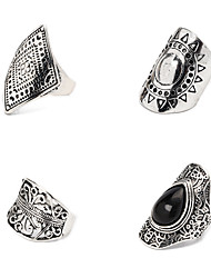 cheap -Ring Silver Alloy Elegant Holiday European 4 Pieces Adjustable / Women's