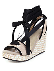cheap -Women's Sandals Wedge Heel Peep Toe Canvas Casual / Minimalism Summer Almond / Yellow / Gray