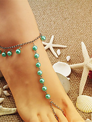 cheap -Anklet Elegant Boho Fashion Women's Body Jewelry For Party Evening Beach Beads Pink Pearl Purple Blushing Pink Green 1 Piece