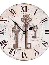 cheap -1pcs Retro Nostalgic Key Wall Clock Home Wall Decoration Wooden