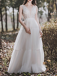 cheap -A-Line V Neck Floor Length Tulle Sleeveless Simple Elegant Wedding Dresses with Lace Insert 2020
