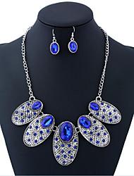 cheap -Women's Jewelry Set Retro Flower Stylish Imitation Diamond Earrings Jewelry Blue / Red For Gift Festival 1 set
