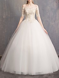cheap -Ball Gown Off Shoulder Sweep / Brush Train Lace Half Sleeve Beach Wedding Dresses with Lace Insert 2020