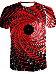 levne -Pánské 3D Tisk Štíhlý Tričko Denní Kulatý Rubínově červená / Krátký rukáv