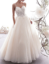 cheap -A-Line Sweetheart Neckline Floor Length Lace / Tulle Sleeveless Sexy Wedding Dresses with Criss Cross / Lace Insert 2020