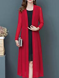 cheap -Women's Solid Colored Long Sleeve Cardigan Sweater Jumper, V Neck Black / Wine / Fuchsia XL / XXL / XXXL
