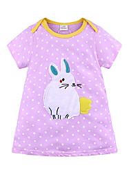 cheap -Kids Girls' Basic Sweet Rabbit Striped Animal Cartoon Short Sleeve Above Knee Dress Purple