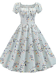cheap -Women's Light Blue Dress Cute Street chic Party Daily Swing Floral Print Square Neck Patchwork Print S M / Cotton