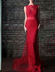 cheap -Sheath / Column Jewel Neck Court Train Lace Sexy / Red Engagement / Formal Evening Dress with Bow(s) 2020