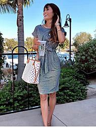 cheap -Women's Royal Blue Black Dress Sheath Striped S M / Cotton