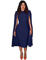cheap -Women's Blushing Pink Blue Dress Sheath Solid Color S M