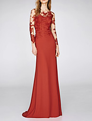 cheap -Mermaid / Trumpet Illusion Neck Sweep / Brush Train Chiffon Elegant / Red Wedding Guest / Formal Evening Dress with Appliques 2020