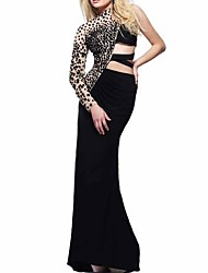 cheap -Sheath / Column Sexy Black Party Wear Formal Evening Dress One Shoulder Long Sleeve Sweep / Brush Train Polyester with Beading 2020