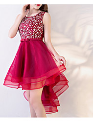 cheap -A-Line Hot Red Homecoming Cocktail Party Dress Jewel Neck Sleeveless Asymmetrical Polyester with Sequin 2020