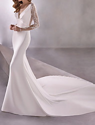 cheap -Mermaid / Trumpet Wedding Dresses Plunging Neck Court Train Polyester Long Sleeve Country Illusion Sleeve with Lace Insert 2021
