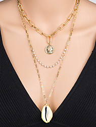 cheap -Women's Pendant Necklace Necklace Layered Necklace Stacking Stackable Shell Classic Vintage Trendy Fashion Pearl Chrome Shell Gold 60 cm Necklace Jewelry 1pc For Anniversary Street Birthday Party