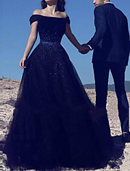 cheap -A-Line Off Shoulder Court Train Polyester Cap Sleeve Country Plus Size / Black Wedding Dresses with Crystals 2020