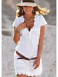 cheap -Women's White Dress Shift Solid Color V Neck S M