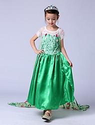 cheap -Princess Elsa Vintage Dress Party Costume Girls' Costume Blue / Green / LightBlue Vintage Cosplay Sleeveless Long Length