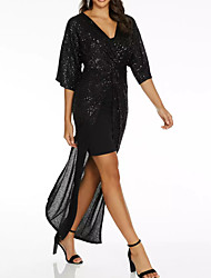 cheap -Sheath / Column V Neck Floor Length Polyester Sexy / Black Prom / Holiday Dress with Sequin / Split 2020