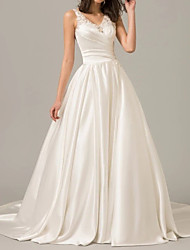cheap -A-Line V Neck Sweep / Brush Train Polyester Sleeveless Formal Plus Size Wedding Dresses with Draping 2020