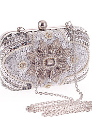 cheap -Women's Bags Polyester Evening Bag Crystals Floral Print Wedding Bags Wedding Party Event / Party Silver