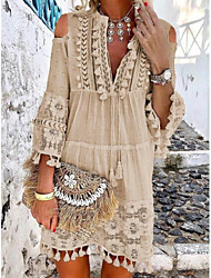 cheap -Women's Boho / Beach Holiday Vacation Beach Casual Boho Shift Dress - Solid Colored Lace Tassel Fringe Deep V Spring & Summer Yellow Orange Blue S M L XL