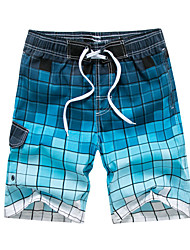 cheap -Men's Beach board shorts Swimsuit Lace up Print Color Block Blue Green Gray Swimwear Bathing Suits