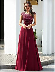 cheap -A-Line Empire Red Prom Formal Evening Dress Jewel Neck Short Sleeve Floor Length Chiffon with Sequin 2020