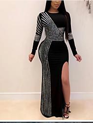 cheap -Women's Maxi Black Dress Sheath Color Block S M Slim