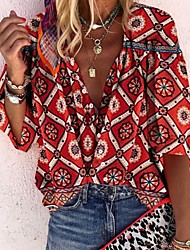 cheap -Women's Geometric Floral Puff Sleeve Loose Shirt Boho Daily V Neck Red