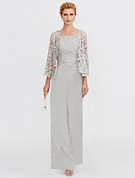 cheap -Pantsuit / Jumpsuit Square Neck Floor Length Chiffon / Lace 3/4 Length Sleeve Elegant Mother of the Bride Dress with Appliques 2020