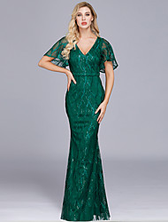 cheap -Mermaid / Trumpet Elegant Hot Wedding Guest Prom Dress V Neck Short Sleeve Floor Length Tulle Sequined with Sequin 2020