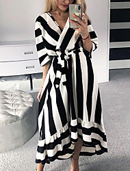 cheap -Women's Daily Casual Street chic Sheath Swing Dress - Striped Color Block Black & White, Basic Black S M L XL