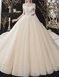 cheap -Ball Gown Off Shoulder Watteau Train Tulle Cap Sleeve Simple Elegant Wedding Dresses with Lace Insert 2020