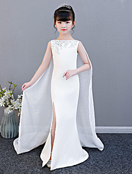 cheap -Mermaid / Trumpet Court Train Wedding / Party / Pageant Flower Girl Dresses - Spun Rayon Sleeveless Jewel Neck with Split Front